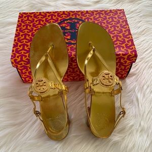 Tory Burch metallic gold sandals. Size 9.